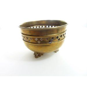 Vintage Brass 3 Footed Round Small Planter Vase